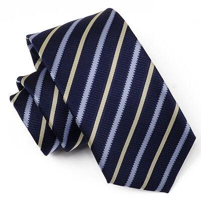 (tx26) Uomini Cravatta 100% Poliestere Blu Navy Con Motivo A Righe Cravatta Uomo Formale Ufficio-mostra Il Titolo Originale Le Materie Prime Sono Disponibili Senza Restrizioni