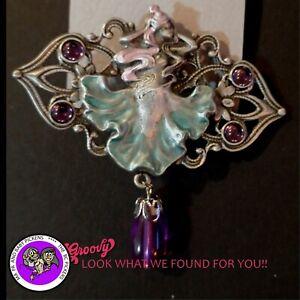 034-JJ-034-Jonette-Jewelry-Silver-Pewter-039-Fairy-Colored-Purple-Dangle-039-PIN
