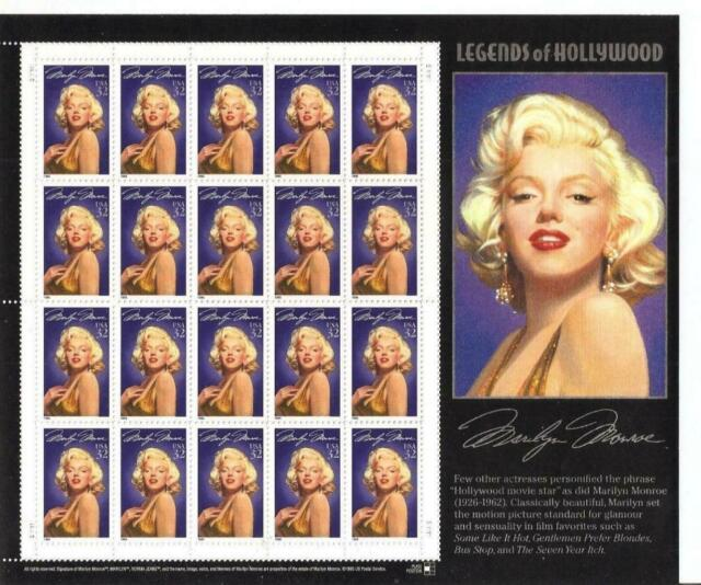 USA 1995 MINT NH PANE OF 20 STAMPS #2967LEGEND OF HOLLYWOOD, MARILYN MONROE !!