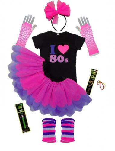 I LOVE 80S PINK PURPLE NEON TUTU SET TSHIRT LEGWARMER GLOVES BEADS HEADBAND SET