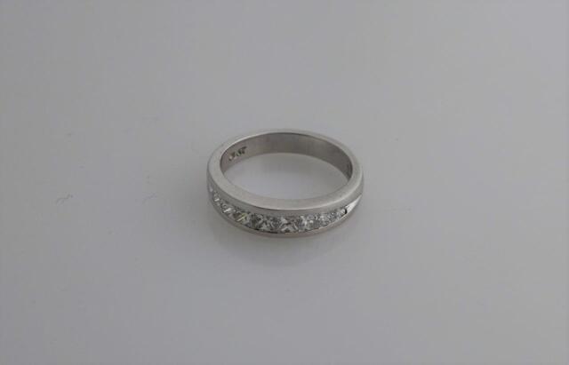 Scott Kay Platinum Princess Cut Diamond Wedding Band Ring Size 6