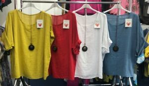 Women-Italian-Plain-Lagenlook-Batwing-Cotton-Linen-Ladies-Tunic-Top-Plus-Sizes