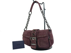 70b805d355 Image is loading Authentic-PRADA-Suede-Browns-Chain-Shoulder-Bag-PS16972L