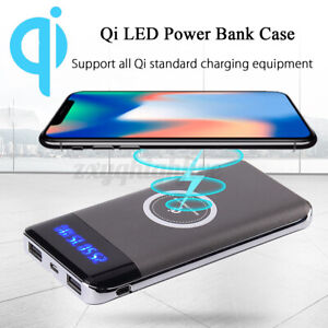 Qi 10000mAh Power Bank  Wireless Charging LED Portable Battery Charger