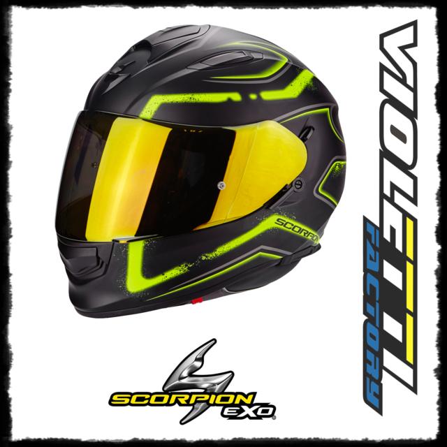 Scorpion casco moto exo-390 hawk opaco nero-neon giallo l