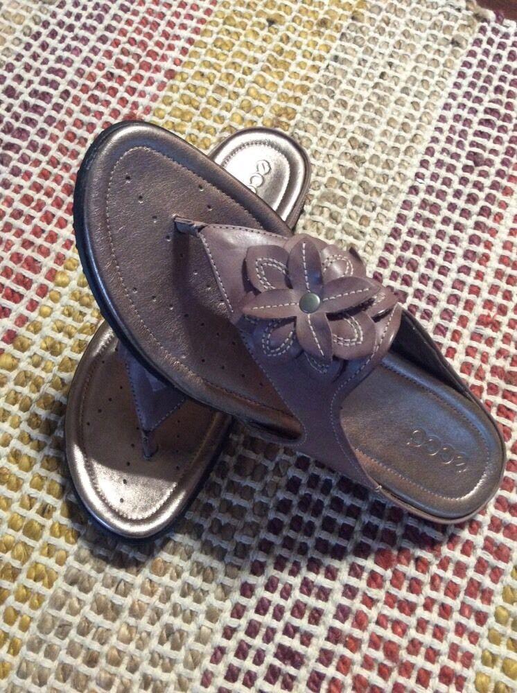 donna scarpe Dimensione 10-10.5 Ecco Groove Woodrosa Sandals Eu 41 New W Box