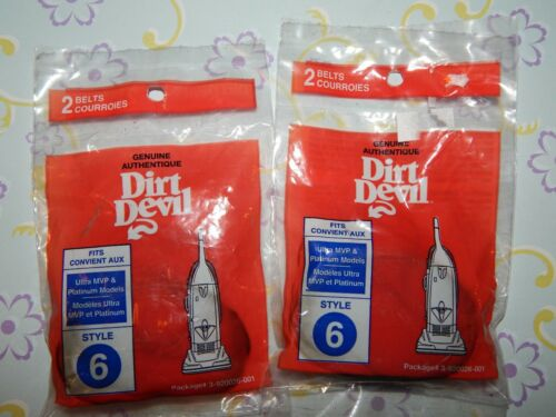 4 DIRT DEVIL Style 6 Ultra MVP /& PLATINUM Genuine OEM VACUUM BELTS LOT 2