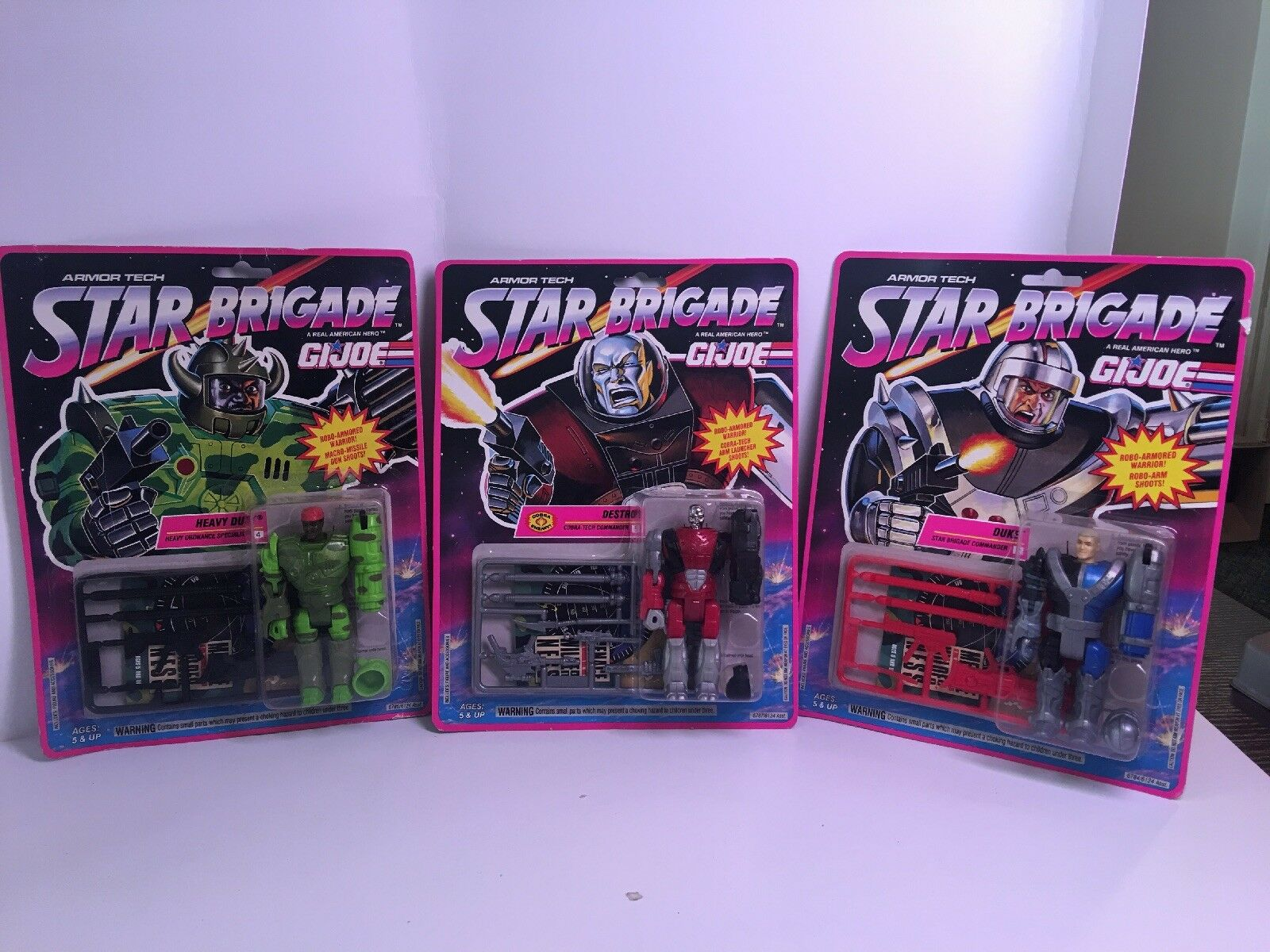 3 GI Joe Star Brigade DESTRO , DUKE & HEAVY DUTY , ALL NEW ON CARD