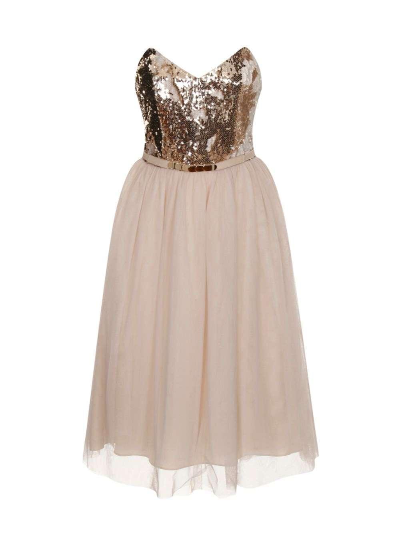 Little Mistress pesantemente impreziosito Prom Dress 14 Panna oro