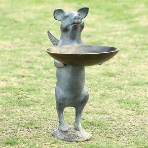 Flying winged pig birdfeeder whimsical metal garden for Whimsical garden statues