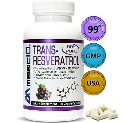 Maac10 Trans Resveratrol 500mg Supplement Micronized