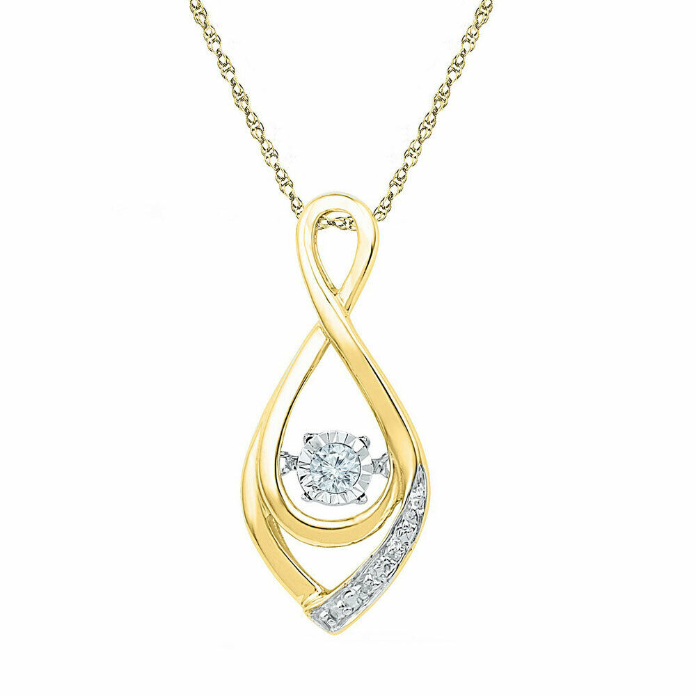 10k Yellow gold Round Diamond Moving Twinkle Solitaire Teardrop Pendant 1 20