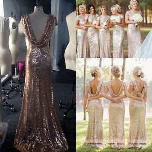 ab44fb34cf3 Image is loading Sequin-Long-Bridesmaid-Dresses-Plus-Size-Formal-Wedding-