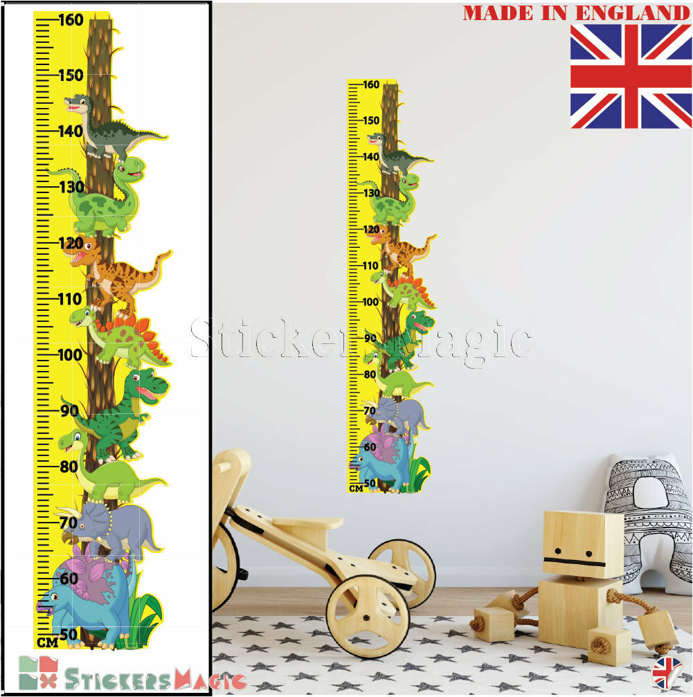Dinosaur Height Chart Wall Sticker Growth Measure Childrens Kids