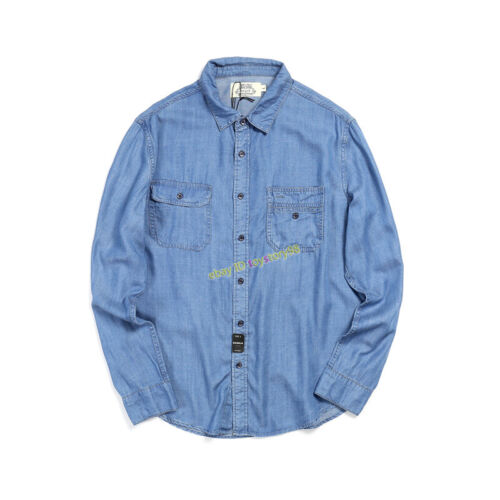 Summer American Vintage Casual Men/'s Breathable Loose Long Sleeved Denim Shirt