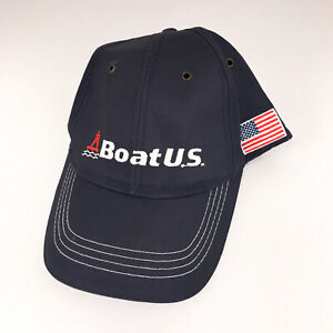 Boat US hat cap with American flag on side Since 1966 hook loop blue hbx53