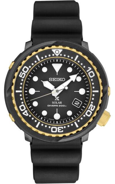 Seiko Men's Solar Diver 200M Black Dial Silicone Strap Watch SNE498