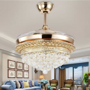 "Silver 42/"" Crystal Invisible Ceiling Fan Light LED Chandelier Fan Lamp Remote"