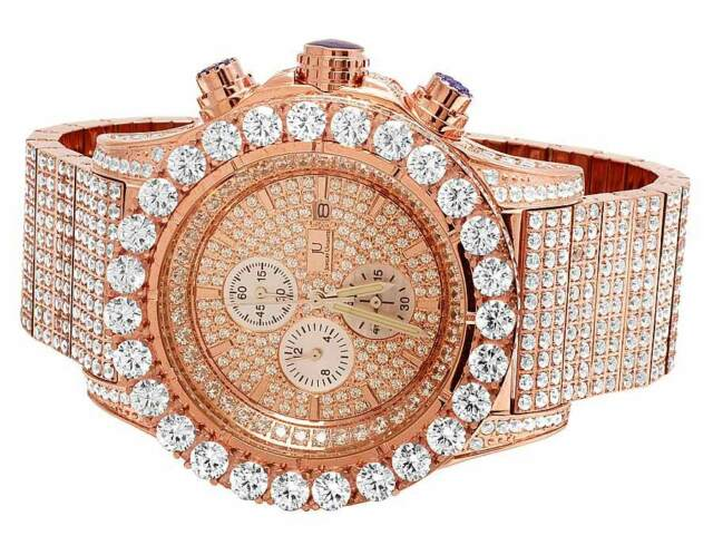 a72e62234 New Mens Jewelry Unlimited Rose Gold Simulated Hip Hop Diamond Watch 48MM  BR-04