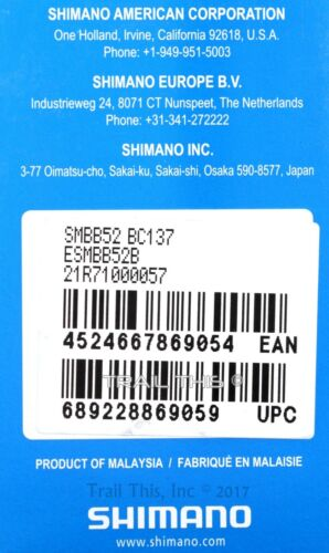 Shimano Deore SM-BB52 Bottom Bracket MTB Hollowtech II External Bearing Silver