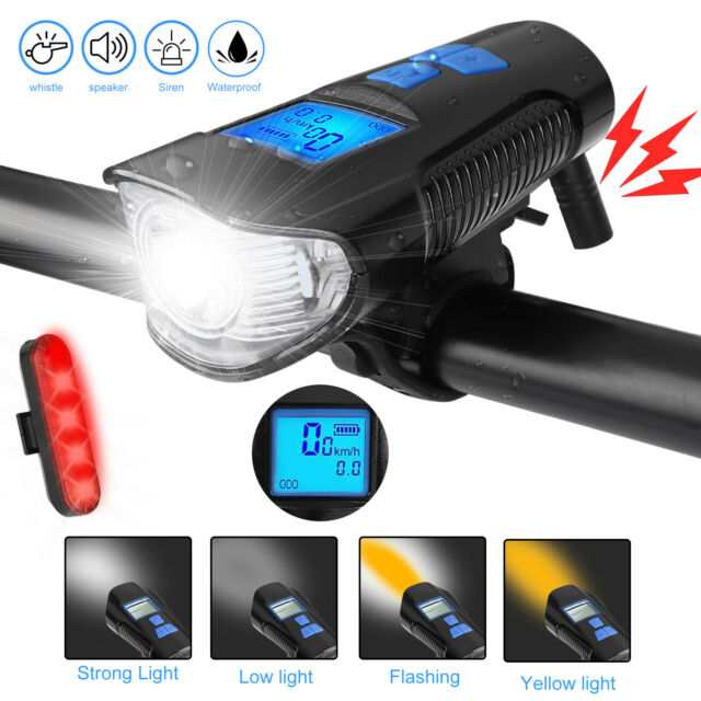 LED Bike Light USB Bicycle Speedometer Cycling Rechargeable Headlight Taillight