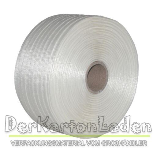 2 Rouleaux umreifungsband textiles tissés 16 mm 850 M 450 kg bande Textilband noyau 76