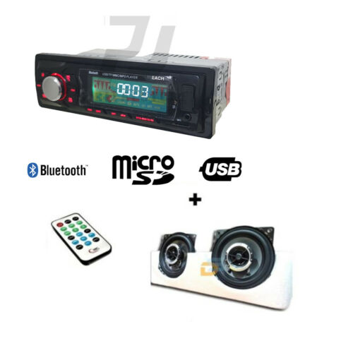 COPPIA CASSE AUTO 250W 10CM KIT AUTO AUTORADIO STEREO BLUETOOTH MP3 USB SD AUX