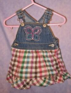 1e0a2fd39a84 EUC OshKosh B Gosh Bib Overalls Dress Jumper Plaid Flannel Sz 6 Mos ...