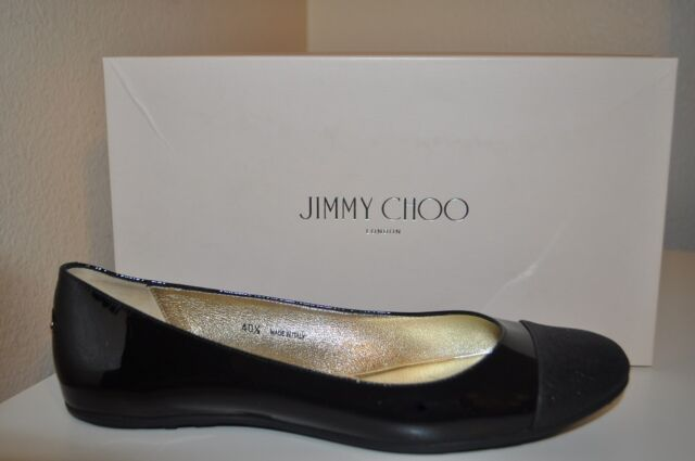 9ba17e9eff NIB Jimmy Choo WHIRL Glitter Cap Toe BLACK Patent Leather Ballet Flat Shoe  10.5