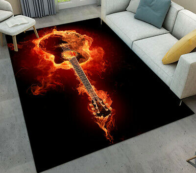 Classical Musical Instrument Guitar Area Rug For Bedroom