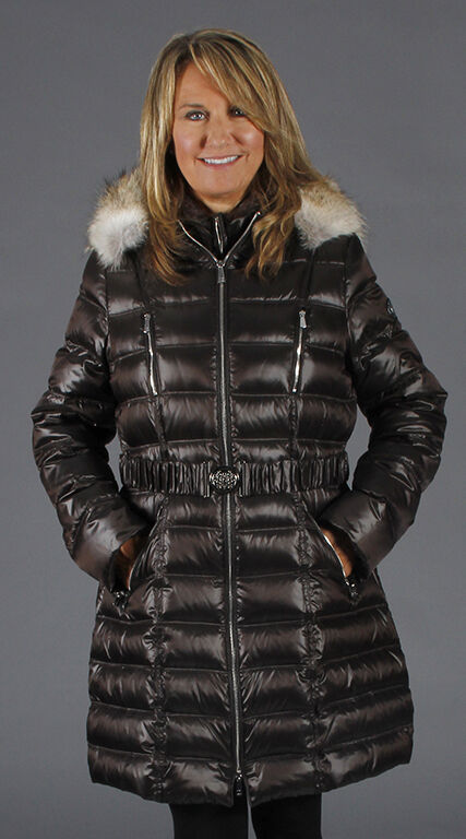 Dawn Levy Alicia Puffer Coffee Parka with Belt and Coyote Fur Trim on Hood