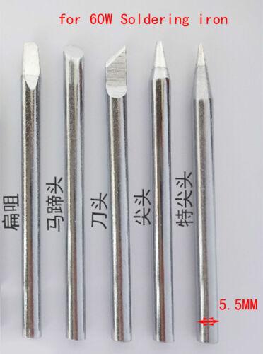 5PCS Φ 5.5mm Soldering tip Solder Iron Tips for External heat 60W Soldering iron