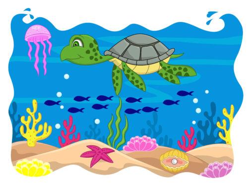 M08 Bügelbild Bügeltransfer Pirat Schildkröte Aquarium Collage A4 A5 alle Stoffe