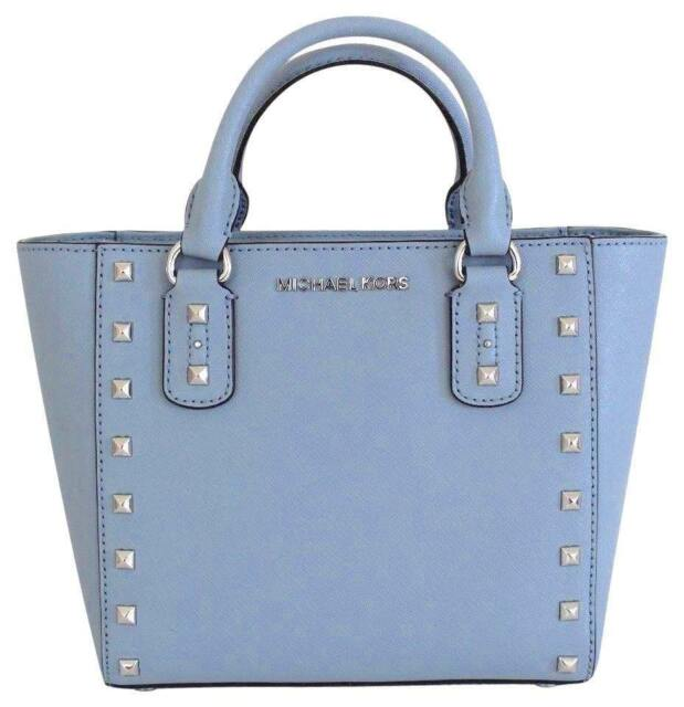 Michael Kors Sandrine Stud Pale Blue Saffiano Leathers Small Crossbody Purse