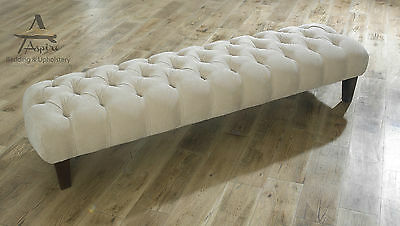Chesterfield Foot Stool Pouffe Small Medium Large Wooden Feet