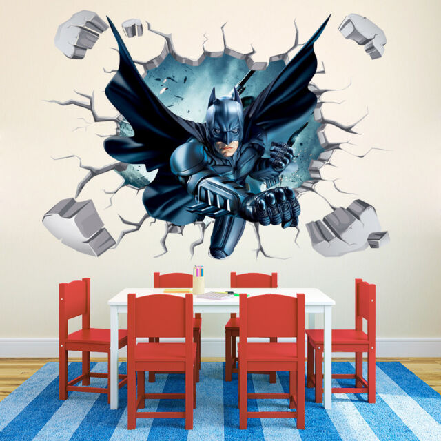 3D Batman Wall Stickers Nursery Decal Kids Boys Room Decor Art Mural  Removable