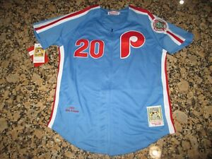 factory price 13ed5 52413 Details about New!! Mike Schmidt #20 Philadelphia Phillies Retro Blue  Zip-up Baseball Jersey M