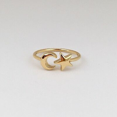 Fine Rings Jewelry & Watches Gold Moon And Star Ring Attractive Fashion