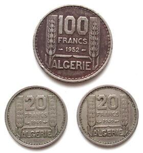 FRANCE-ALGERIE-Superbe-LOT-3-MONNAIES-de-50-FRANCS-et-20-FRANCS