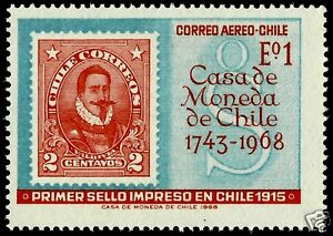 Image Is Loading CHILE STAMP OVER FIRST PRINTED IN