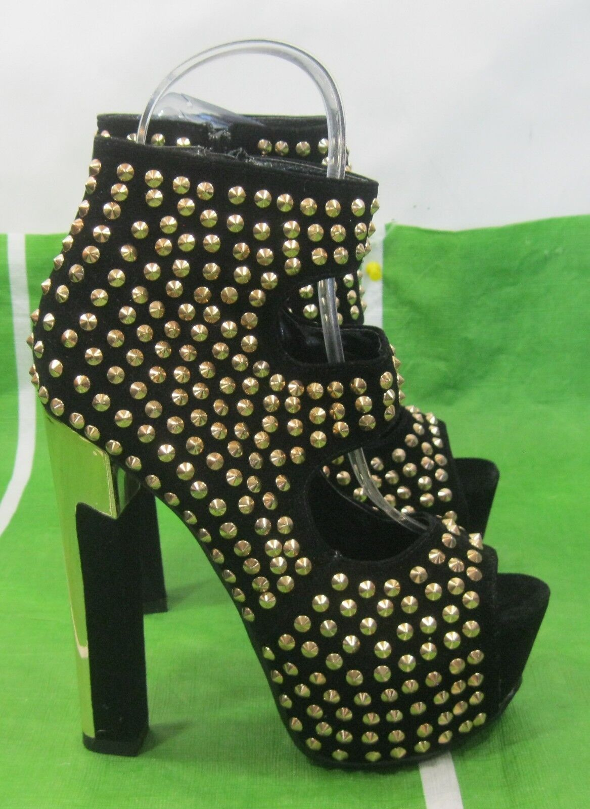 Black gold Spikes 6  High Block Heel 2  Platform Sexy shoes Ankle Strap Size 7