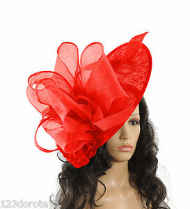 Image is loading Large-Red-Fascinator-for-Ascot-Weddings-Proms-Derby- a550a10b703