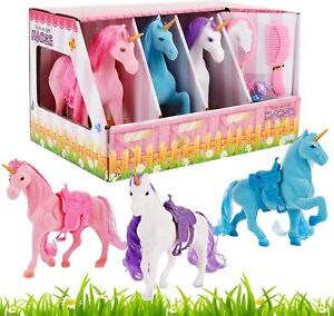 Set Of 3 Girls Beuty Liberty Imports Unicorn Stable Take-Along Kids Toy Playset