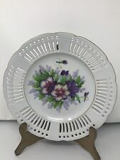 Saji Fancy China OCCUPIED JAPAN Reticulated Hand-Painted Violets Plate