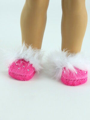 "White Rhinestone Slippers Fits 18/"" American Girl Doll Clothes Shoes"