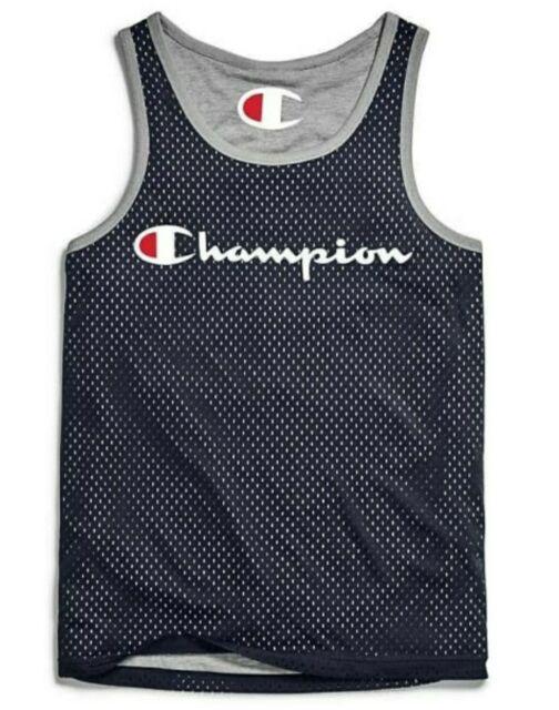 Champion Mens Activewear Tank Top Royal Blue Gray 2XL Reversible Mesh Jersey