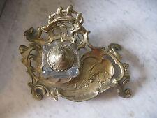 Antique Art Nouveau Baroque Ink Well Set Brass Stand & Cap Crystal Glass Well