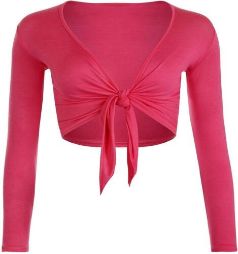 Womens Tie Up Front Long Sleeve Plain Cropped Shrug Ladies Cardigan Top 8-22