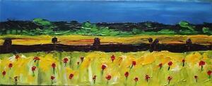 Original-Fauvist-Painting-Impasto-Oil-Summer-Cornfield-Poppies-by-Destrangle