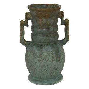 Roseville Pottery Carnelian II Mottled Matte Green Handled Vase 312-8